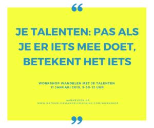 natuurlijkwandelcoaching; loopbaancoaching; talenten; workshop
